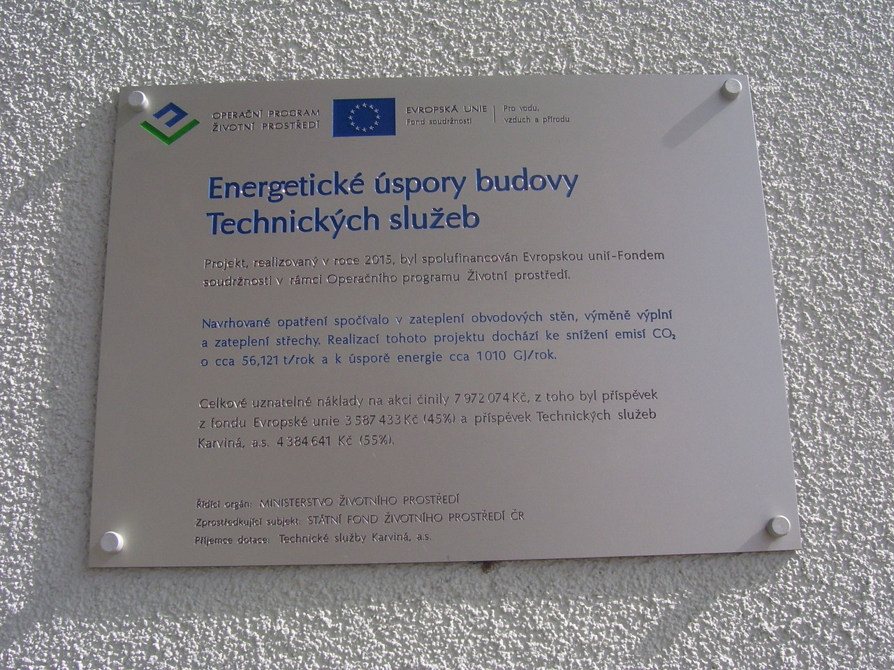 Štítek projektu Energetické úspory budovy technických služeb