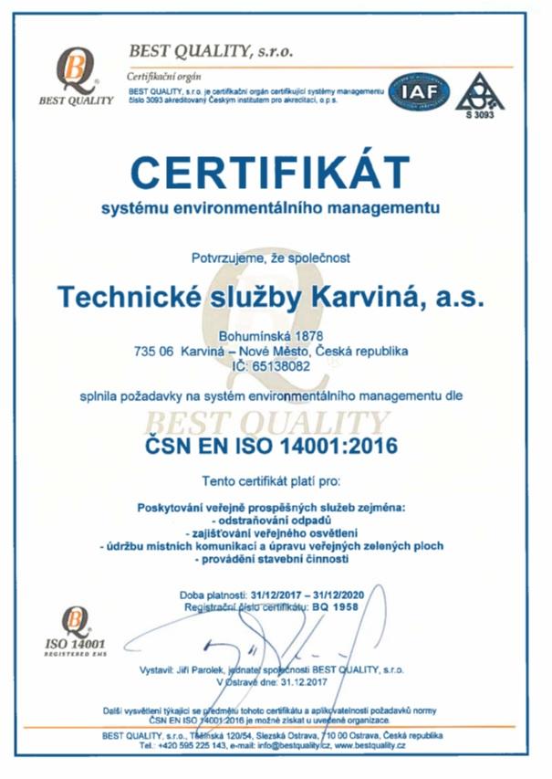 Certifikát environementálního managementu