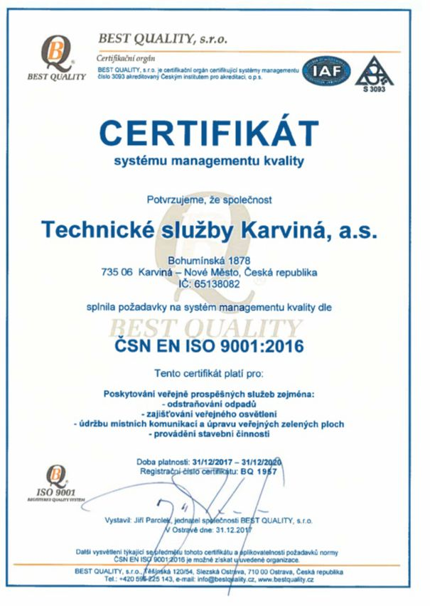 Certifikát systému managementu kvality