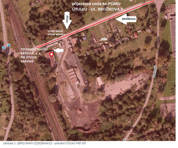 Mapa areálu Psího útulku Karviná