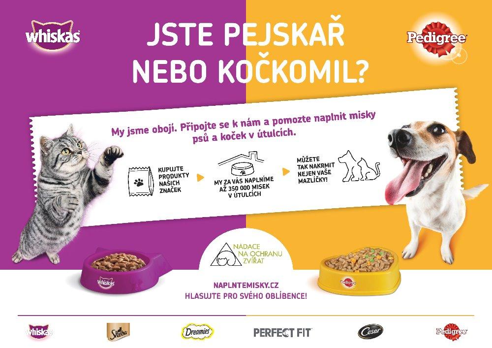 """Akce """"Naplnťe misky"""" - odkaz na stránku naplntemisky.cz pro podporu útulků"""