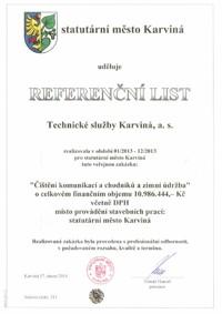 Referenční list č. 1