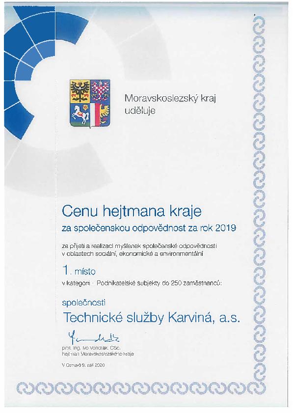 Certifikát - Cena hejtmana kraje za společenskou odpovědnost