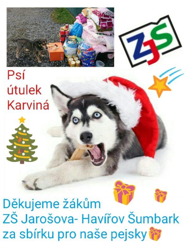 Poděkování ZŠ Jarošova za sbírku pro Psí útulek